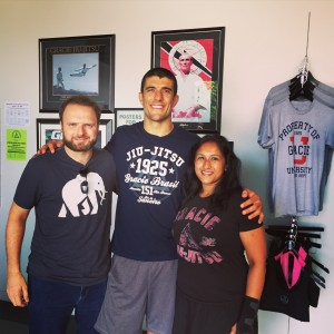 LA 2015 July Gracie Academy D and I with Rener Gracie