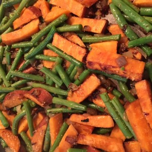 PlumCooks Fish stir fry Sweet potato and string beans